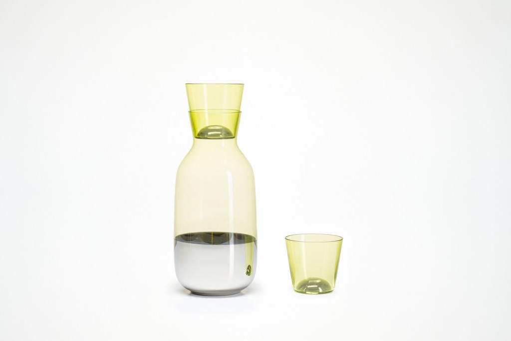 Scholten & Baijings (Amsterdam, Netherlands, founded 2000): Stefan Scholten (Dutch, b. 1972) and Carole Baijings (Dutch, b. 1973) for Verreum; Produced by Gaia & Gino; Carafe and tumbler, from Chromos collection, 2014; Hand-blown, colored glass with metallic coating; 24.8 x 11.7 cm diam. (9 3/4 x 4 5/8 in.) and 7.5 x 8.1 cm diam. (2 15/16 x 3 3/16 in.). Featured in book; alternate object will appear in exhibition