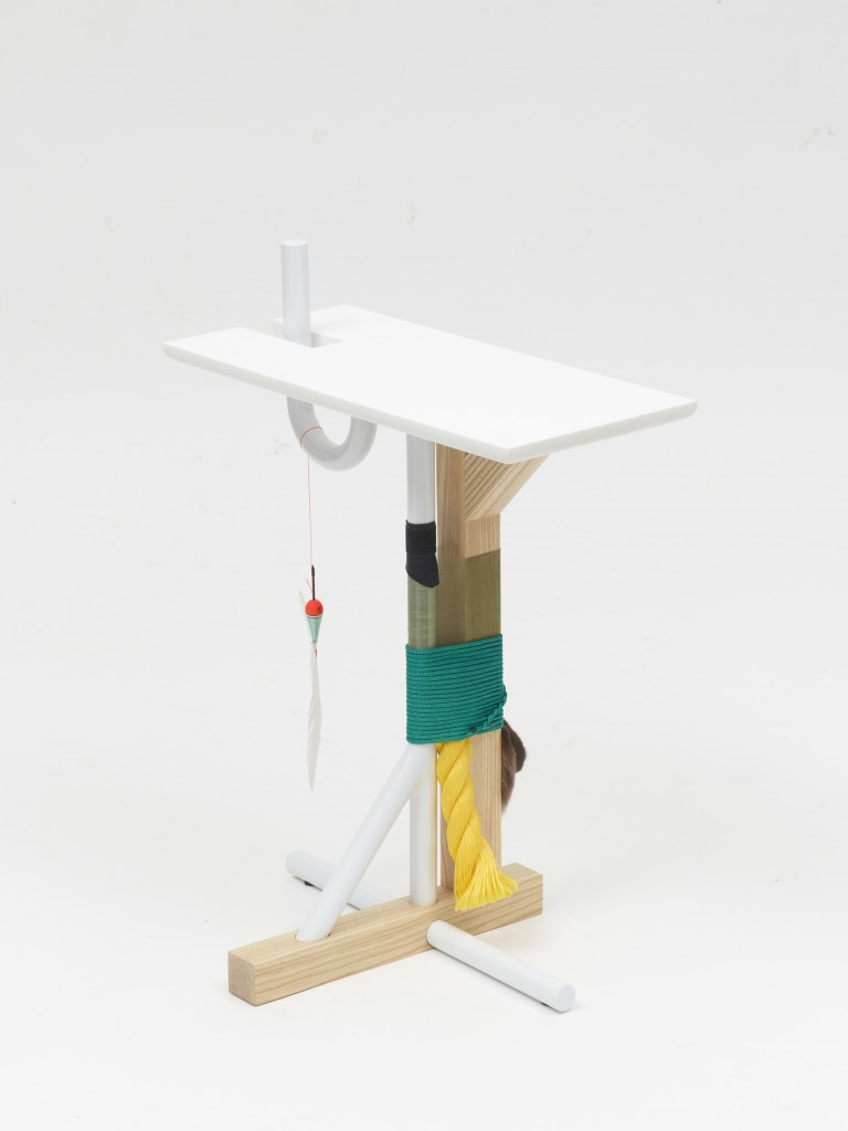 Brynjar Sigurðarson (Icelandic, active in Switzerland, b. 1986) for Galerie Kreo (Paris, France, founded 1999); White Side Table, from The Silent Village Collection, 2013; Ash wood, metal, Krion, ropes, nylon strings, feathers, fur, leather, printed fabrics, chains and hooks; 63.5 × 48 × 33.5 cm (25 in. × 18 7/8 in. × 13 3/16 in.)