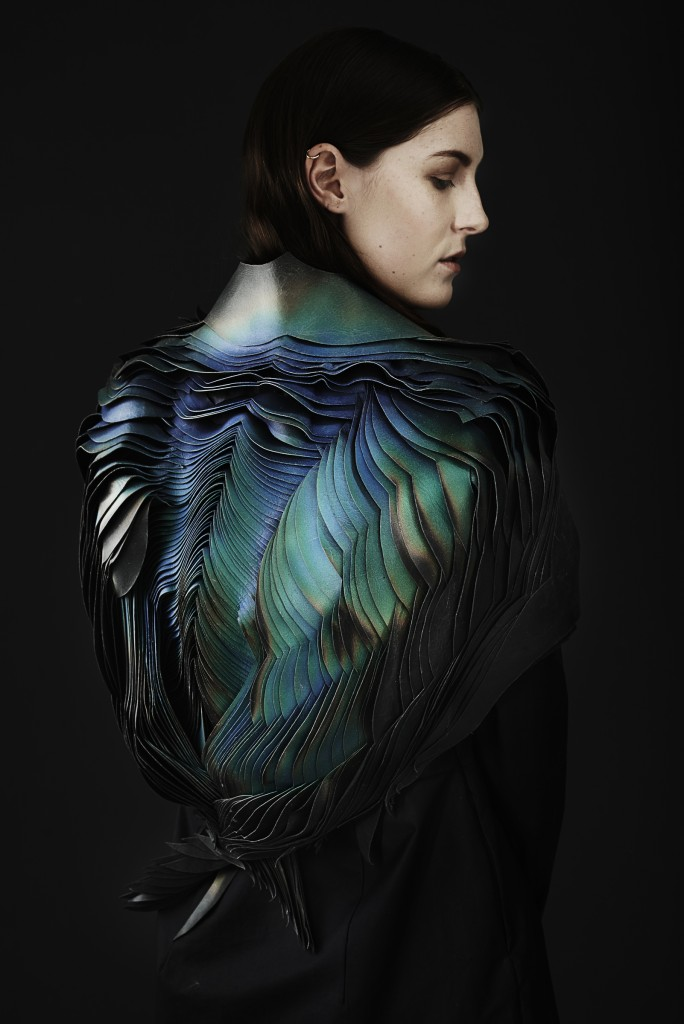 TheUnseen (London, England, United Kingdom, founded 2012): Lauren Bowker (British, b. 1985); Jacket, from the A I R collection, 2014; Leather, wind-reactive ink. Featured in book; alternate object will be on view in exhibition