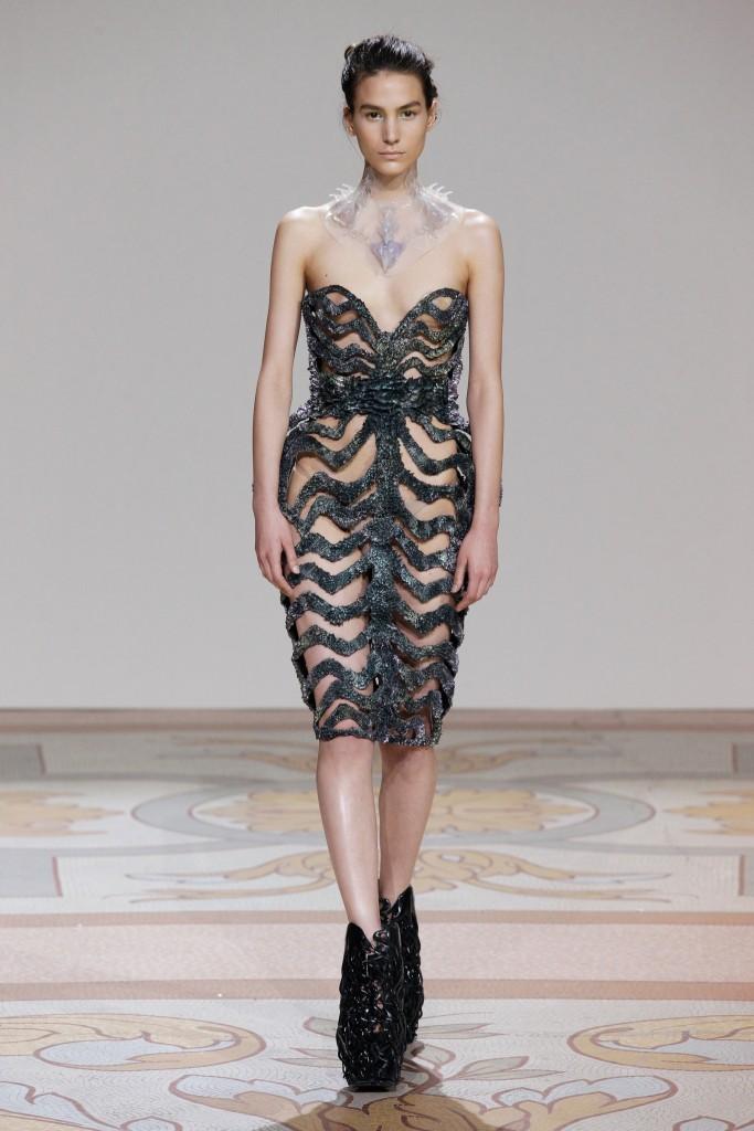 Designed by Iris van Herpen, with Jólan van der Wiel; Dress, from Wilderness Embodied Couture collection, 2013; Resin, iron filings; Courtesy of Iris van Herpen