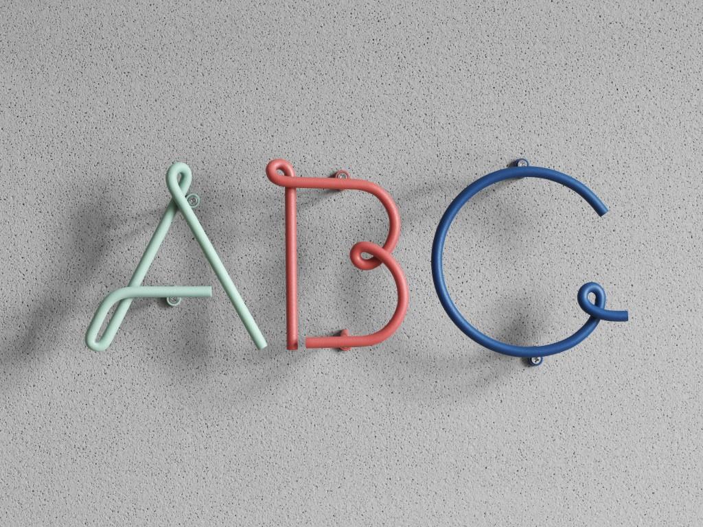 Wire Alphabet by Kyuhyung Cho & Erik Olovsson, Steel, W3.6 x D4.2 x H10.6