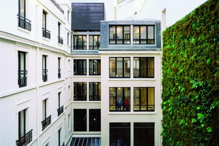 Greenery wall and natural wood terrace of the interior courtyard