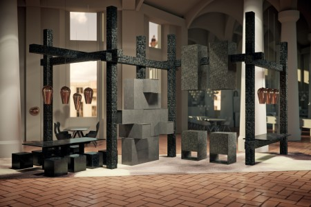 "The RESTAURANT BY Caesarstone & Tom Dixon, ""Fire"" kitchen concept (Rendering courtesy of Caesarstone)"