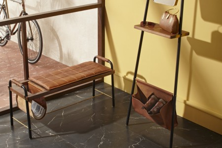 """Seated Bench and Valet, """"Valet"""" collection by David Rockwell for Stellar Works (image courtesy Stellar Works)"""