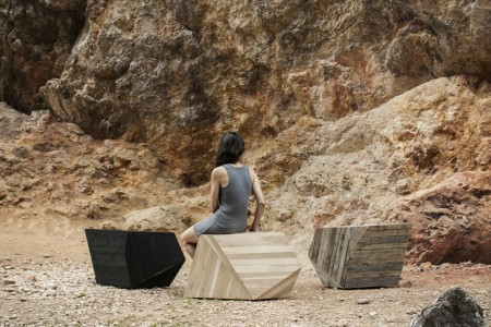 """Earth Stone Wood"" by The Whole Elements: coffee table/ small cabinet/ chaise longue/ seat Earth, Stone, Wood (photo credits: Emilia Oksentowicz, designer credits: Anna Bera)"