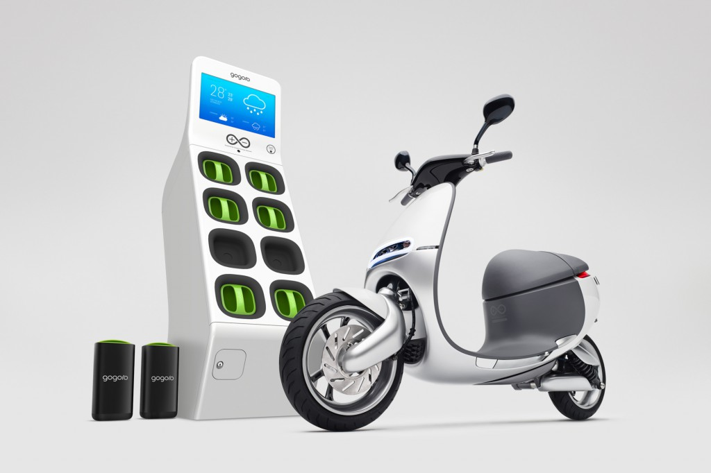 Gogoro Smartscooter EV with GoStation (image courtesy Gogoro)