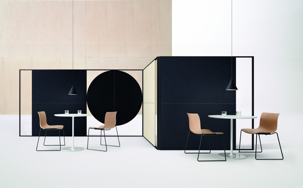 """Parentesit"" wall panels, with ""Catifa 53"" chairs and ""Wit"" tables, by Lievore Altherr Molina for Arper (photo by Marco Covi, courtesy Arper)"