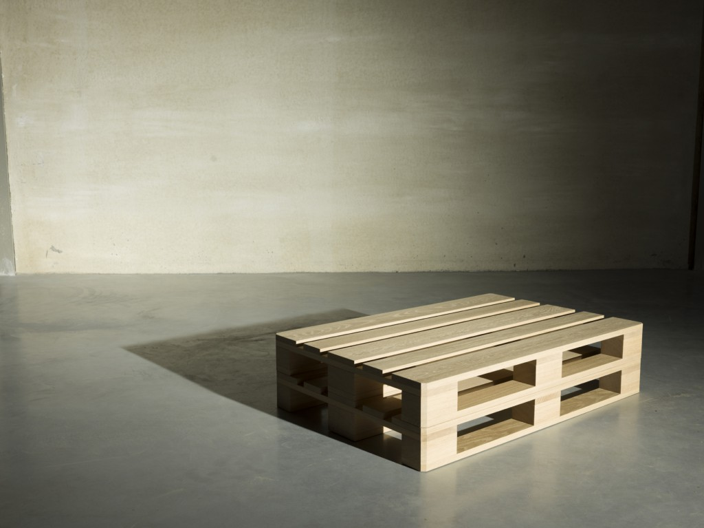 Pallet, by Casimir: the industrial euro-size pallet becomes a source of inspiration for a high-end object in massive oak, which may be used as a low table