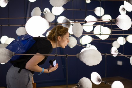 mischer'traxler studio (Katharina Mischer and Thomas Traxler) - LeveL: the fragile balance of utopia, 2016.  Kinetic light installation.  Austrian Contribution / London Design Biennale 2016, 7 – 27 September 2016, Somerset House, Strand, London, WC2R 1LA, United Kingdom.  Photo: Simon Scherrer / smolbattfein, copyright: Austria Design Net