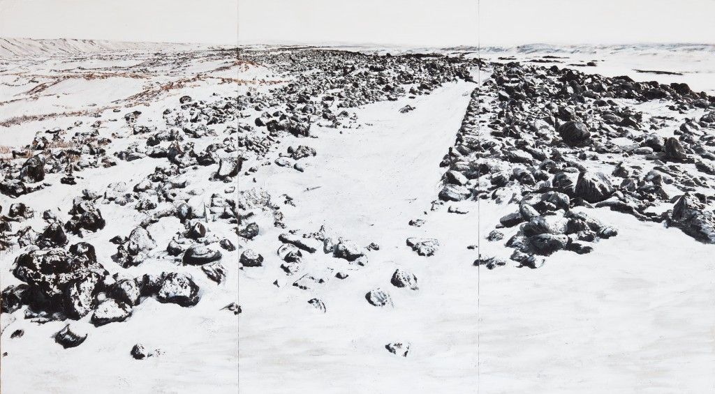 Asperity, Iceland, 2016, by Jörg Bräuer, triptych, mixed media and photography