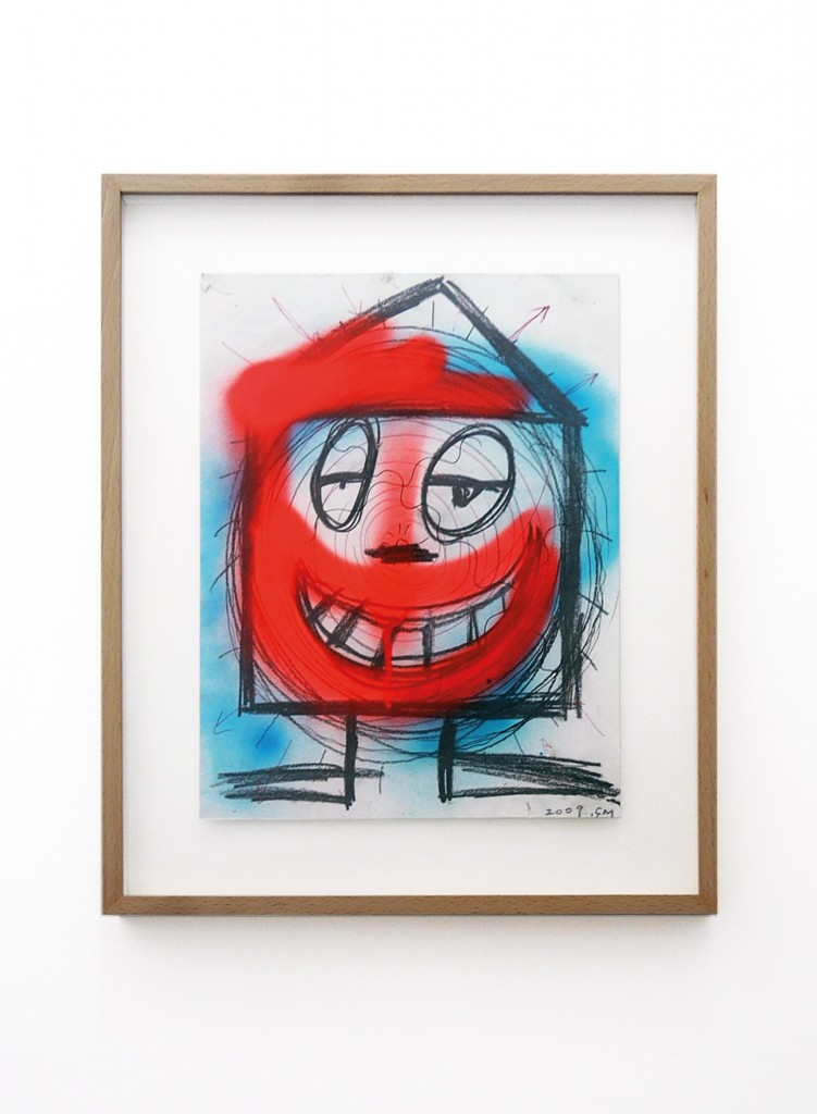"Rodolphe Janssen presents Chris Martin: works on paper. Image: Chris Martin, ""Untitled"", 2009. Graphite, ballpoint pen and spray paint on paper: 30.5 x 22.9 cm."