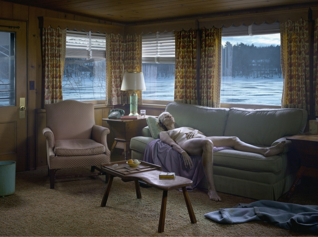 "Daniel Templon presents ""Gregory Crewdson: Cathedral of Pines"". Image: Gregory Crewdson, ""Reclining Woman on Sofa"", 2013. Digital pigment print: 95,3 x 127cm / 114,5 x 146,2 cm (framed). Edition of 3 + 2 EA. ©Gregory Crewdson. Courtesy Gagosian Gallery"