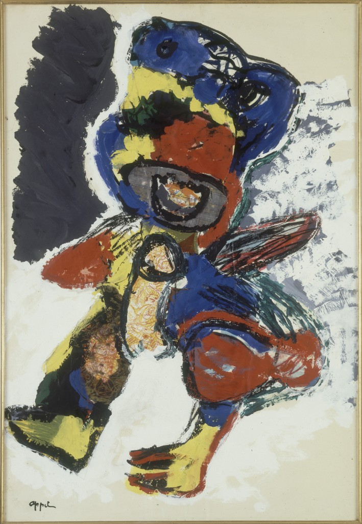 "Rodolphe Janssen presents Pierre Alechinsky, Karel Appel, Fred Bervoets: Works on paper from the Stéphane Janssen collection. Image: Karel Appel, ""First Games"", 1965. Gouache and collage on paper: 111 1/2 x 75 cm."