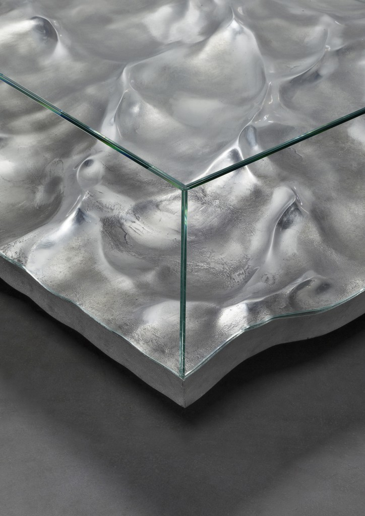 Mathieu Lehanneur - Liquid Aluminium Low Table, 2016.  Aluminium, Glass, H40 L150 W100 cm / H15.7 L59.1 W39.4 in.  Limited Edition of 8 + 4 AP.