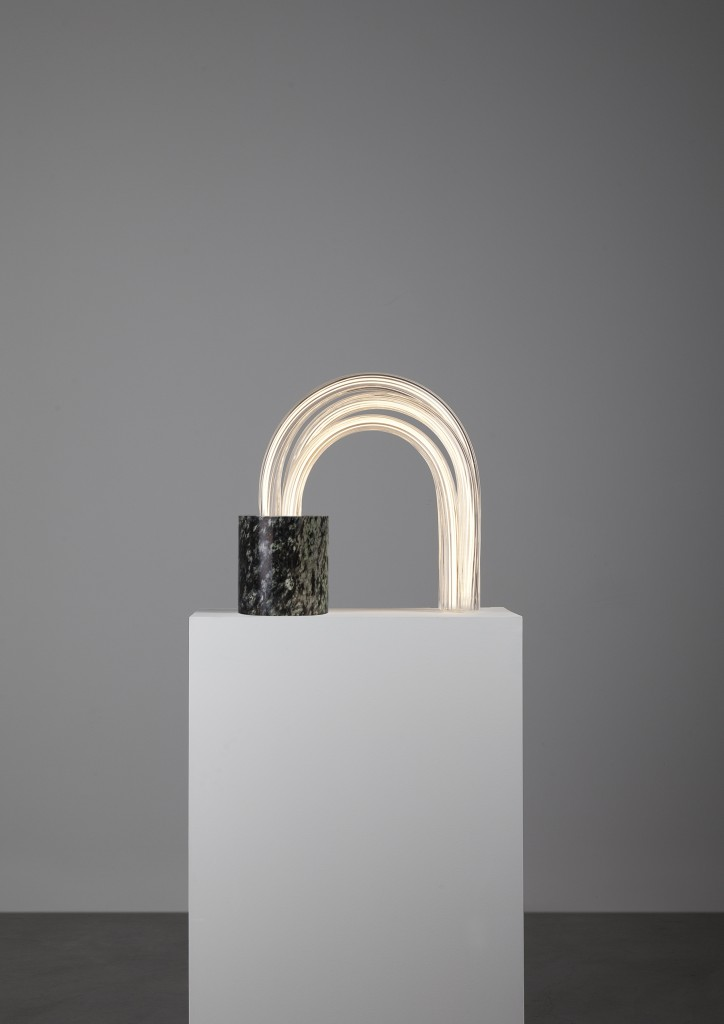 Mathieu Lehanneur - Spring Lamp (Irish Green 44 Cm), 2016.  Marble, Hand Blown Stretched Glass, Flex LED,H44 L44.8 W16.5 cm / H17.3 L17.7 W6.5 in.  Limited Edition of 8 + 4 AP.