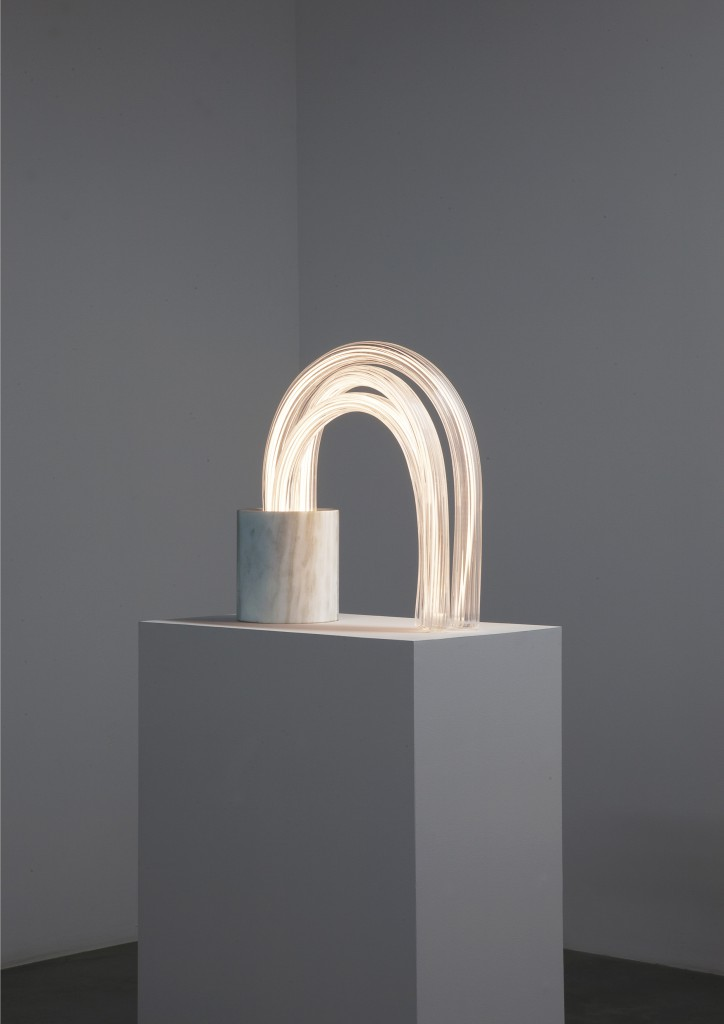 Mathieu Lehanneur - Spring Lamp (Zebrino 44 Cm), 2016.  Marble, Hand Blown Stretched Glass, Flex LED, H44 L44.8 W16.5 cm / H17.3 L17.7 W6.5 in.  Limited Edition of 8 + 4 AP.