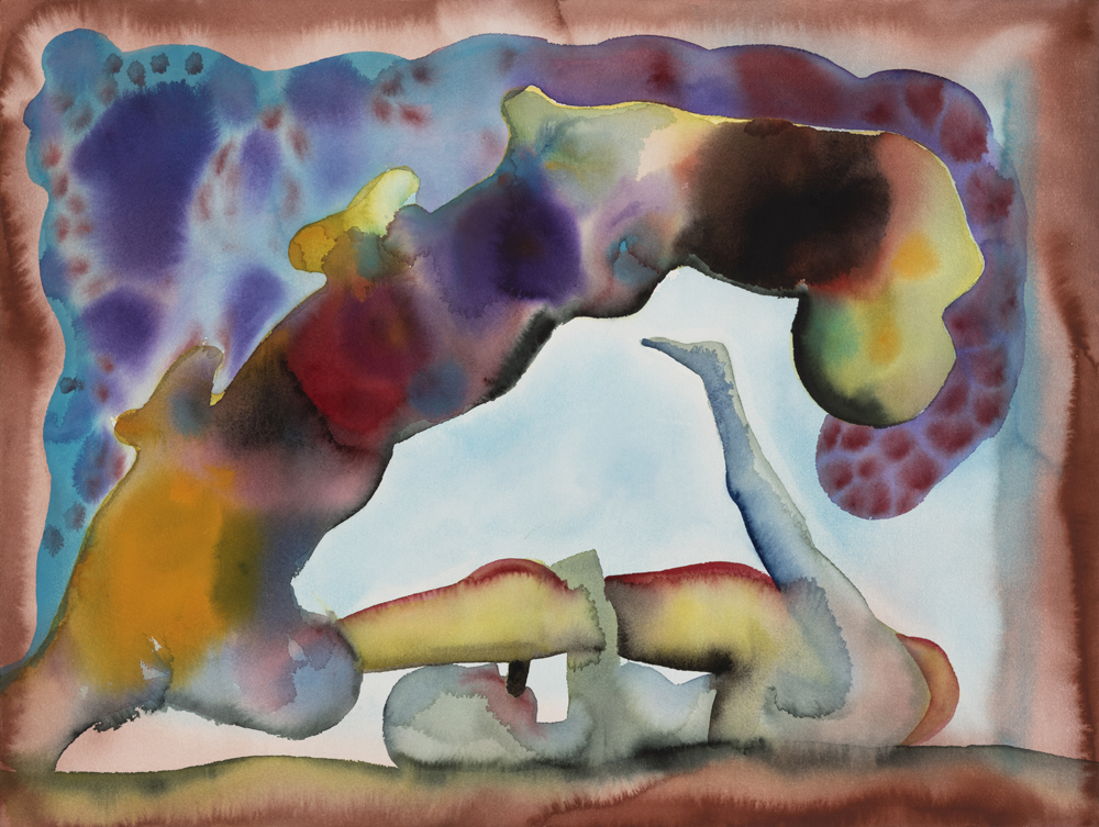 "Jablonka Maruani Mercier Gallery presents Francesco Clemente. Image: Francesco Clemente, ""Making Love in a Fleeting World n°1"", 2015, Watercolour on paper: 45.72 x 60.96 cm."