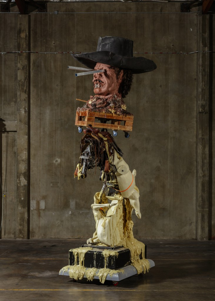 "Xavier Hufkens presents Paul McCarthy: ""White Snow & Coach Stage Stage Coach, Spinoffs"". Image: Paul McCarthy, ""CSSC, Frederic Remington Charles Bronson"", 2014–2016. Clay, wood, steel, laminated board, hair, foam, fiberglass: 497,8 x 228,6 x 157,5 cm."