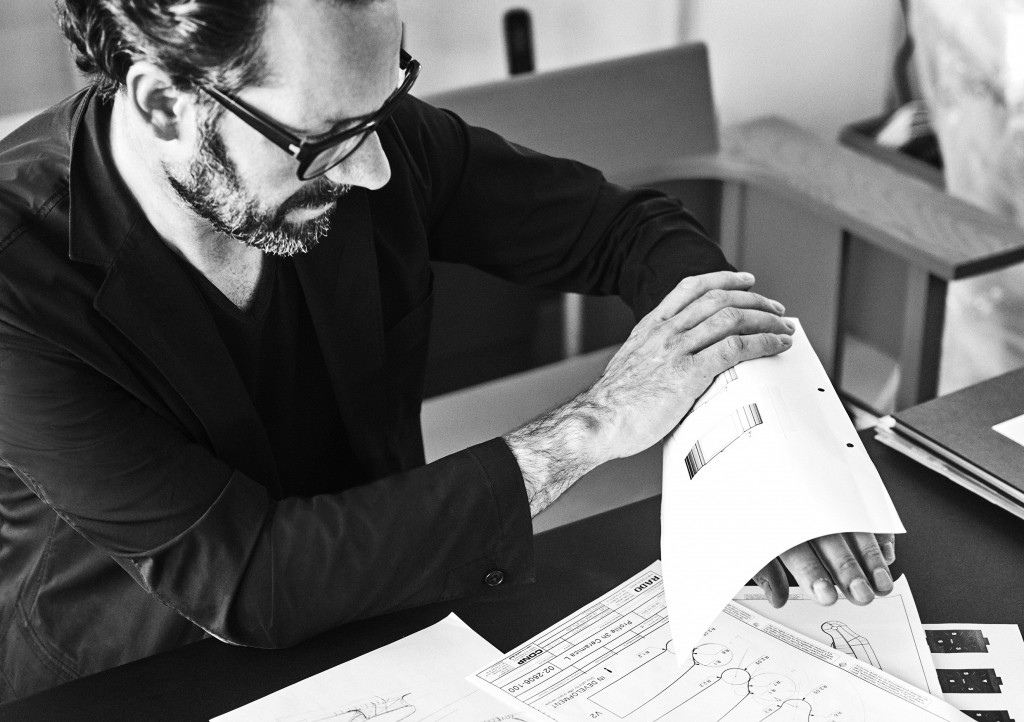 Konstantin Grcic testing on drawing his New Ceramica watch, a limited edition of 701 in matt polished high ceramic