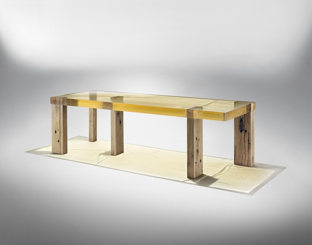 Wood Fossil table, courtesy of Amman//Gallery