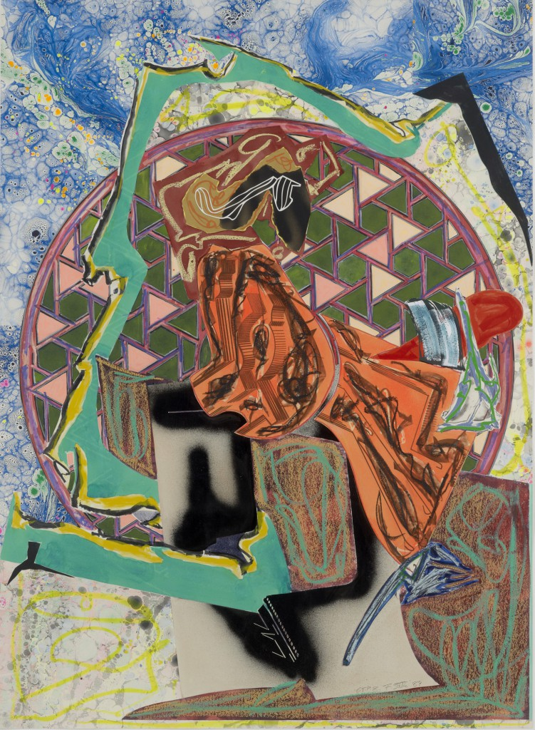 "Keitelman Gallery presents Frank Stella: ""From the line to the line"". Image: Frank Stella,""The Great Heidelburgh Tun, C.T.P VIII"", 1989. Acrylic, vinyl paint and various media on collaged paper: 190 x 139 cm."