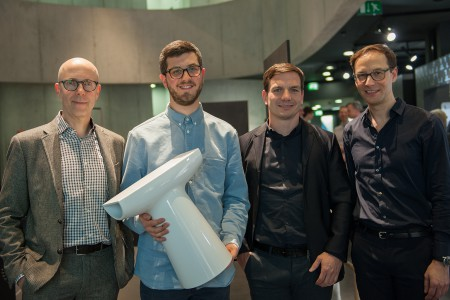 From left to right: Sven Adolph, tutor Industrial Design HGK Basel; Joe Griesbach, student and winner of the Laufen SaphirKeramik contest; Marc Viardot, Director Marketing and Products Laufen; Alain Reymond, Design and Product Manager, Ceramics. Photo courtesy Laufen ©2016 Natalie Miville