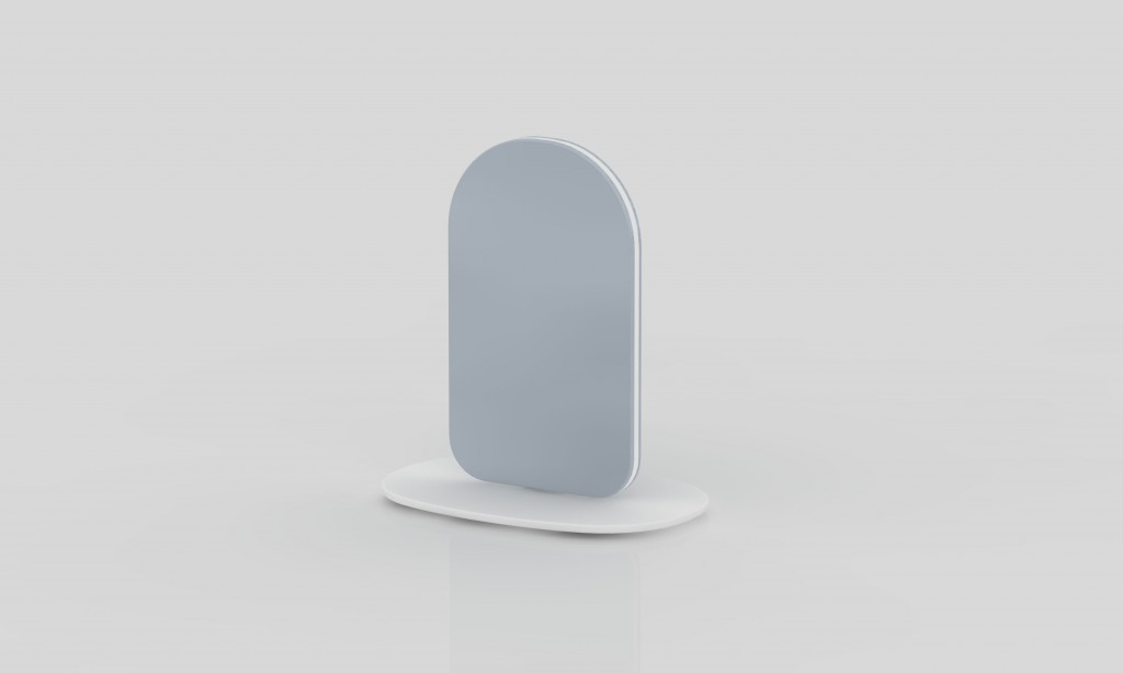 Adrien Rovero (CH), Layered Mirror, two rounded mirrored glass panels with a solid surface core and base, cm 53H x 48W x 32D, 2016. ©Adrien Rovero
