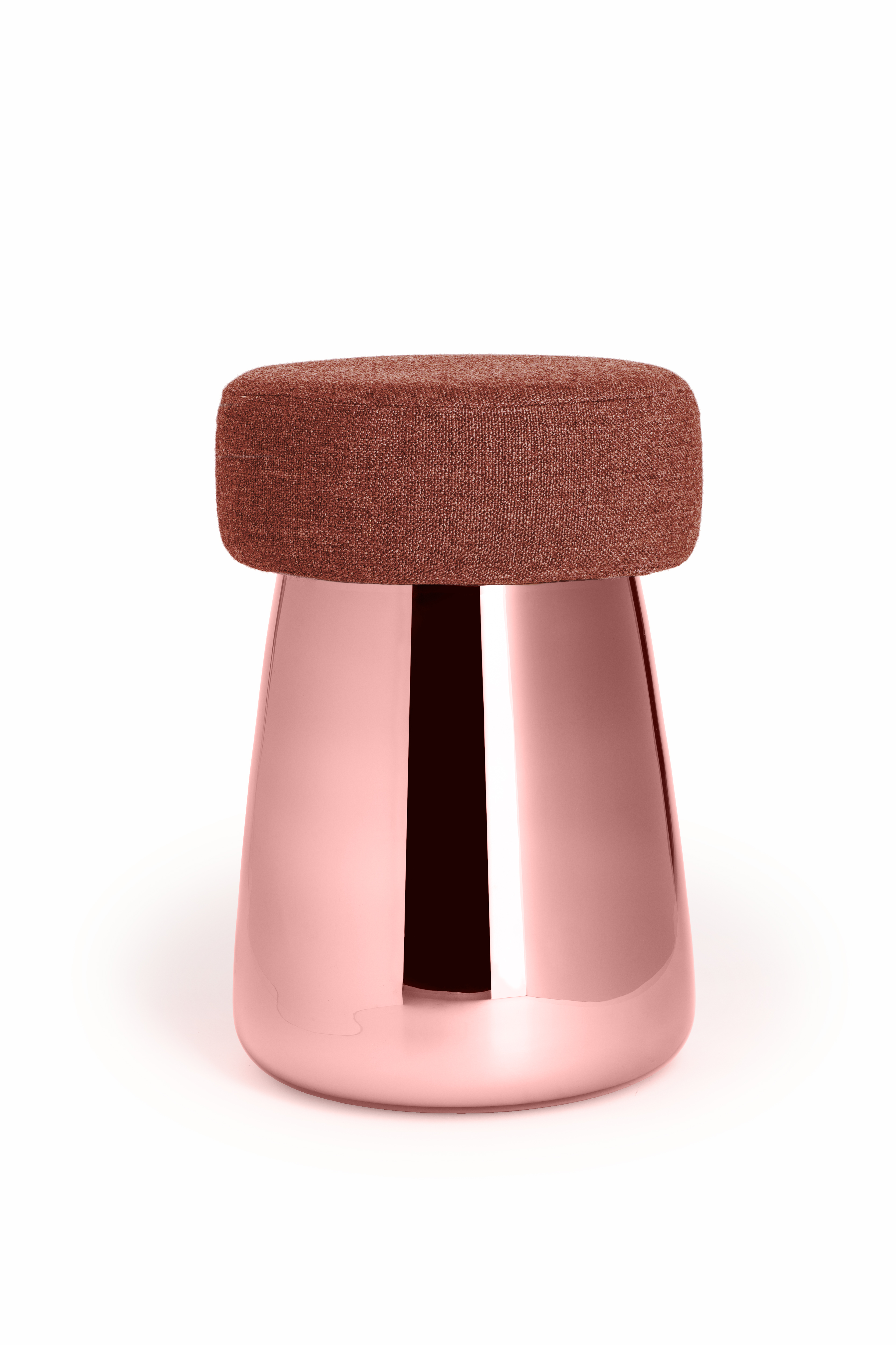 Alain Gilles (BE), Chubby, pink silvered blown glass stool combined with upholstered fabric, wood, foam, cm 48H x 30Ø, ed. by VERREUM (CZ), 2016. ©Verreum