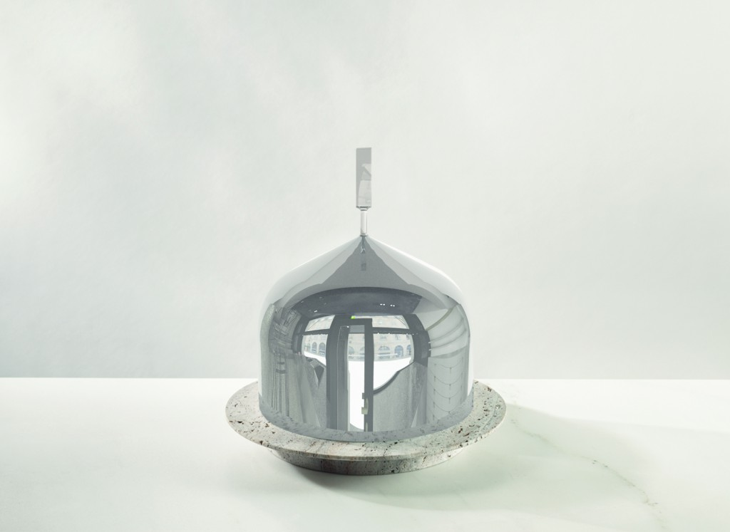 Glenn Sestig (BE), Pleasure Dome Supernova, white marble base with a silver glass blown dome, mm 500Ø x 600H, 25kg, for Spazio Nobile (BE) in collaboration with VAN DEN WEGHE (BE) and LASVIT (CZ), 2015. ©Frederik Vercruysse & Glenn Sestig Architects