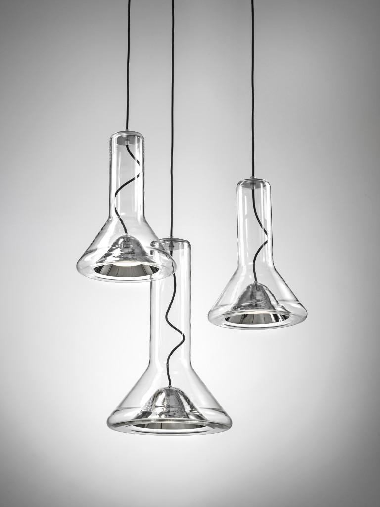 Lucie Koldova (CZ), The Whistle, small silvered glass blown pendant lamp with silver cup, cm 30H X 40Ø, ed. by BROKIS (CZ), 2014. ©Martin Chum