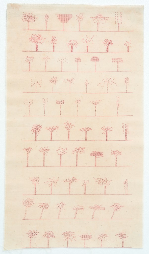 Hessie, Arbres paysages machine ('Trees landscape machine'), 1976 Typewriter, lines of trees, red ink, 79 × 45 cm, Credit : Béatrice Hatala © Galerie Arnaud Lefebvre