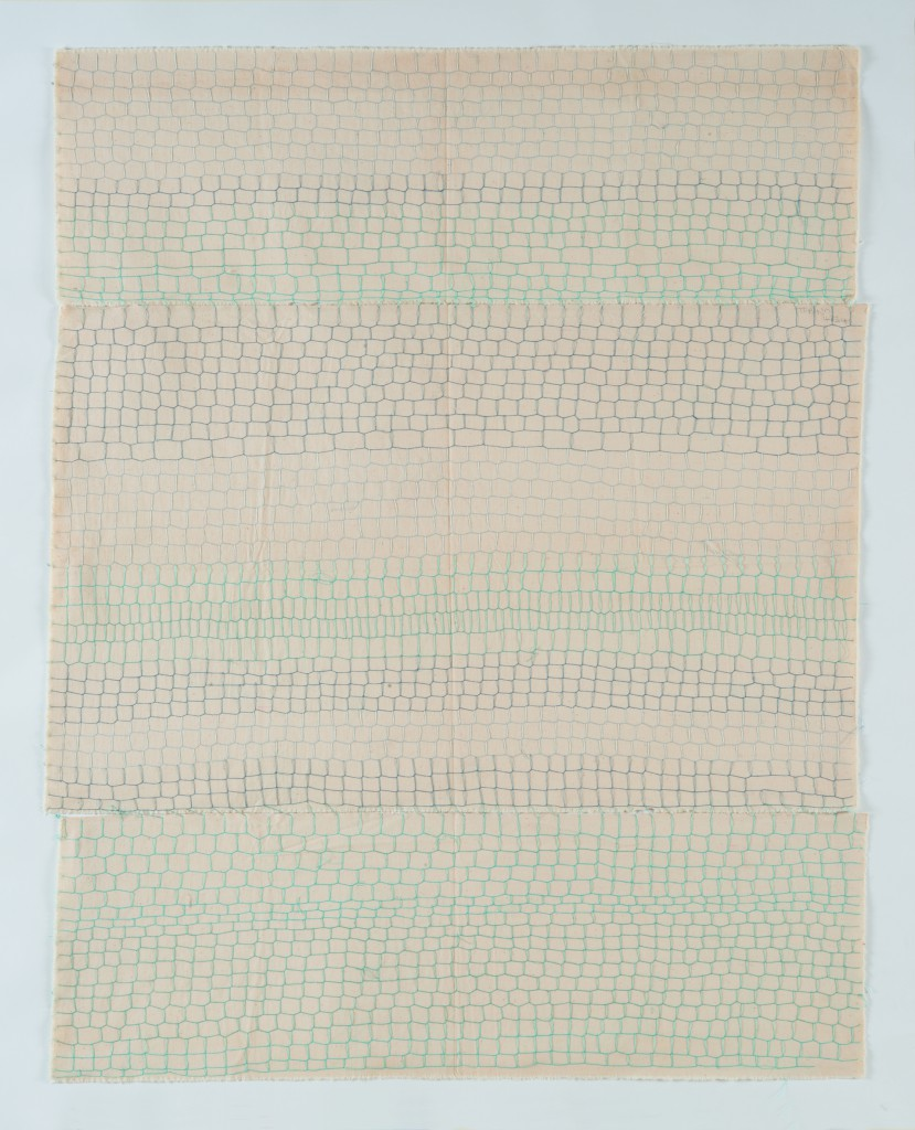 Hessie, Grillage « Tubino 4834 », ('Grid form: Tubino 4834'), 1975/1976, Embroidery in blue on cotton canvas stitched, in three sections, 104 × 82 cm, Credit: Béatrice Hatala © Galerie Arnaud Lefebvre