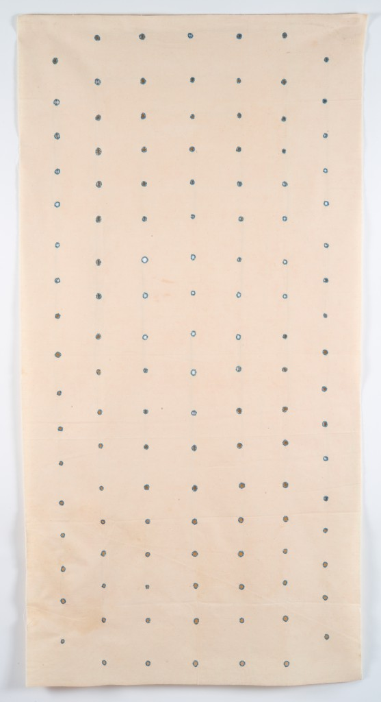 Hessie, Les Trous ('Holes'), 1973, Embroidery in blue thread on, perforations in cotton canvas,, 166 × 85 cm, Credit : Béatrice Hatala, © Galerie Arnaud Lefebvre