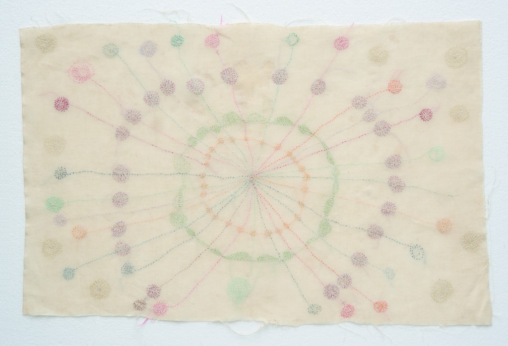 Hessie, Microscopiques ('Microscopics'), 1969/1970, Embroidery in yellow, orange, red, green and violet, on cotton canvas, 47 × 63 cm, Credit : Béatrice Hatala © Galerie Arnaud Lefebvre
