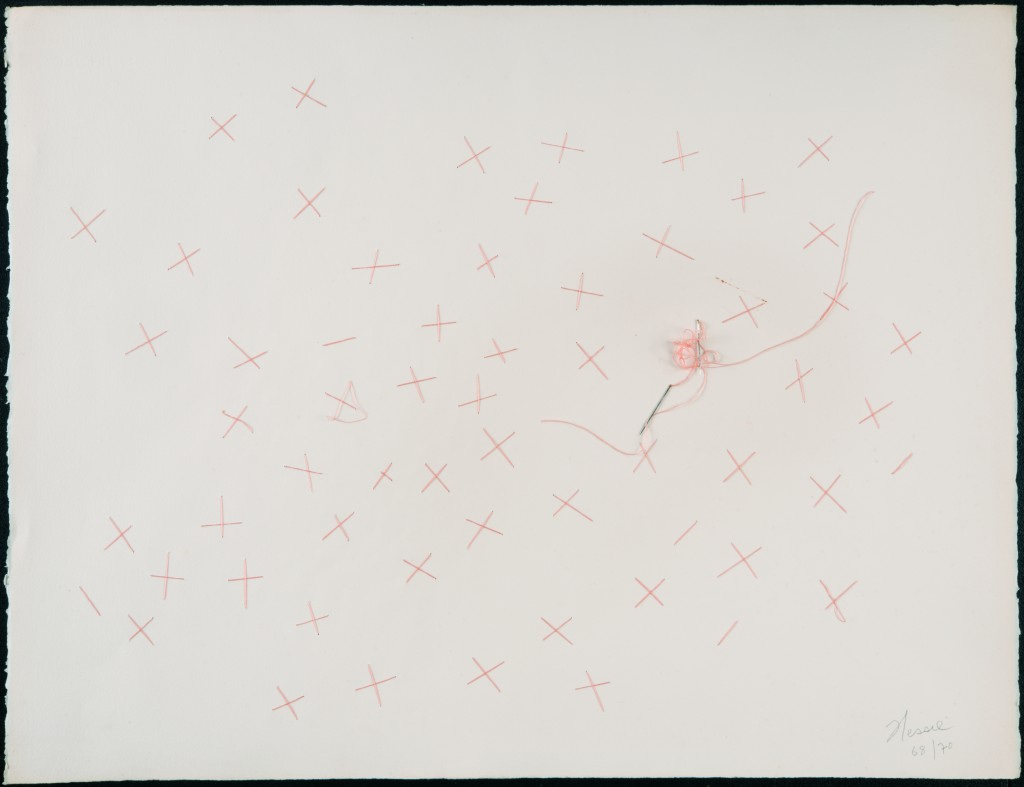 Hessie, Untitled, 1968/1970, Embroidery in pink thread on paper, two needles, 50 × 65 cm, Credit : Béatrice Hatala © Galerie Arnaud Lefebvre