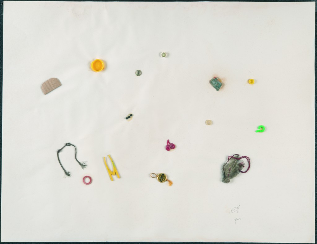 Hessie, Untitled, 1970, Metal and plastic elements and a piece of card mounted, on paper, 50 × 65 cm, © Galerie Arnaud Lefebvre