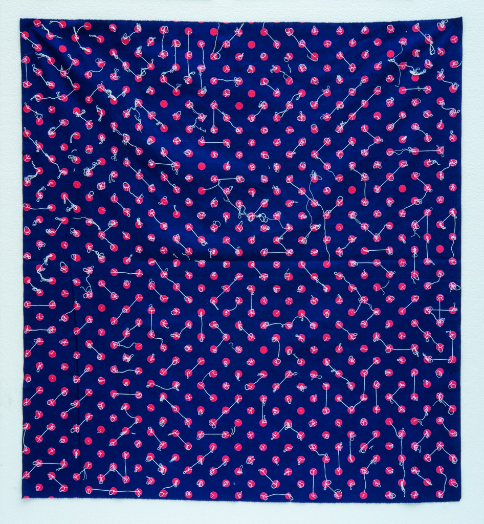Hessie, Untitled, 1990, Coloured fabric and white thread, 87 × 98 cm, Credit : Béatrice Hatala © Galerie Arnaud Lefebvre