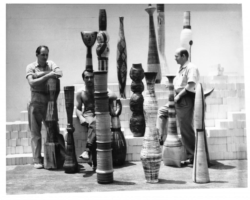 Paul Soldner's MFA show, 1956 Otis Art Institute, with Paul Soldner, Pete Voulkos and John Mason, Image Courtesy of Soldner Descendants' Trust.