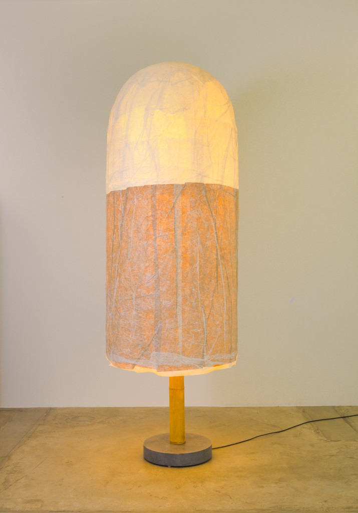 Lamp, 2014. Japanese rice paper, bamboo, marble. Andrea Branzi.