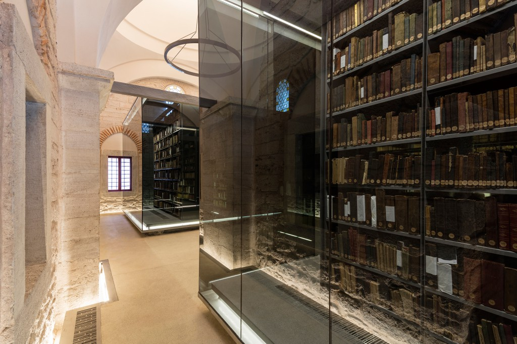 Dedicated bookshelves provide optimal storage conditions for the rare books and manuscripts.