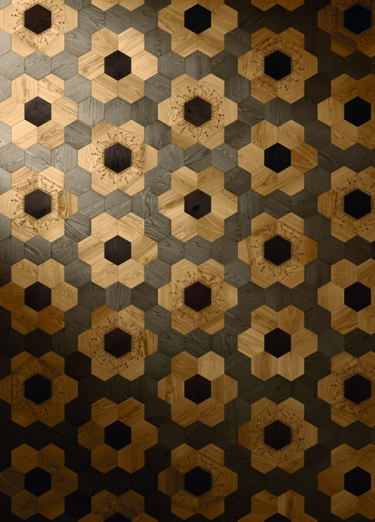 Carreaux de bois et mosaïques murales pour Bisazza / Wood tiles and wall mosaics for Bisazza, 2016, Photo : Courtesy of Bisazza