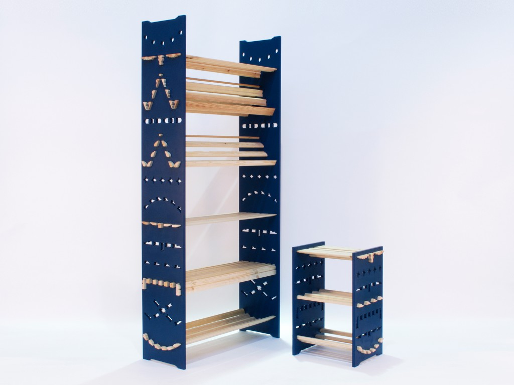 Dado shelves (2016) by Adam Guy Blencowe for Opendesk as part of a project with Ineke Hans. The stability of these furniture pieces relies on the profile of the shelves meeting ends that have been cut exactly to fit them.