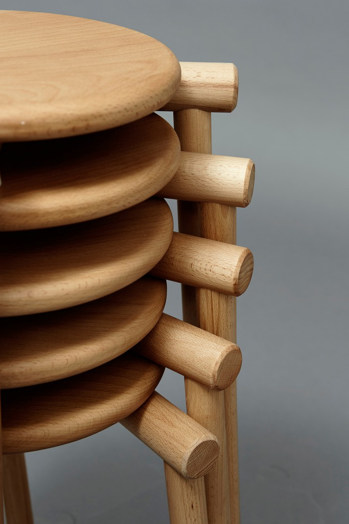 In the Round Stool from Rodular seating collection (2016) by James Shaw. One type of simple joint is repeated across the Rodular family of seating, with each round section of timber joined to the other by fitting snugly into a round hole.