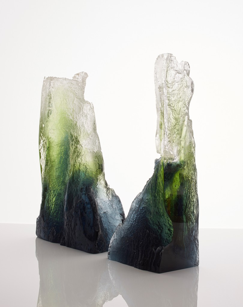 Ravine by Joseph Harrington, whose unique Lost Ice Process uses salt to sculpt ice from which he casts glass. Photo: Anne Purkiss