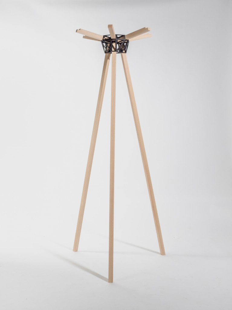 Keystones coat stand (2014) by Studio Minale-Maeda. Keystones is a set of 3D-printed connectors that can be used to construct various pieces of furniture.