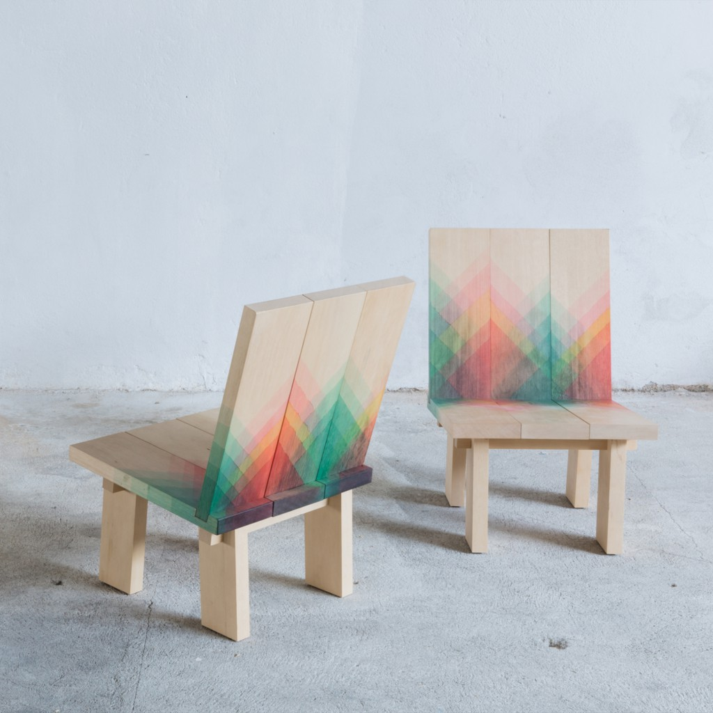 Herringbones chairs by Raw Edges, a London design studio led by Yael Mer and Shay Alkalay, and