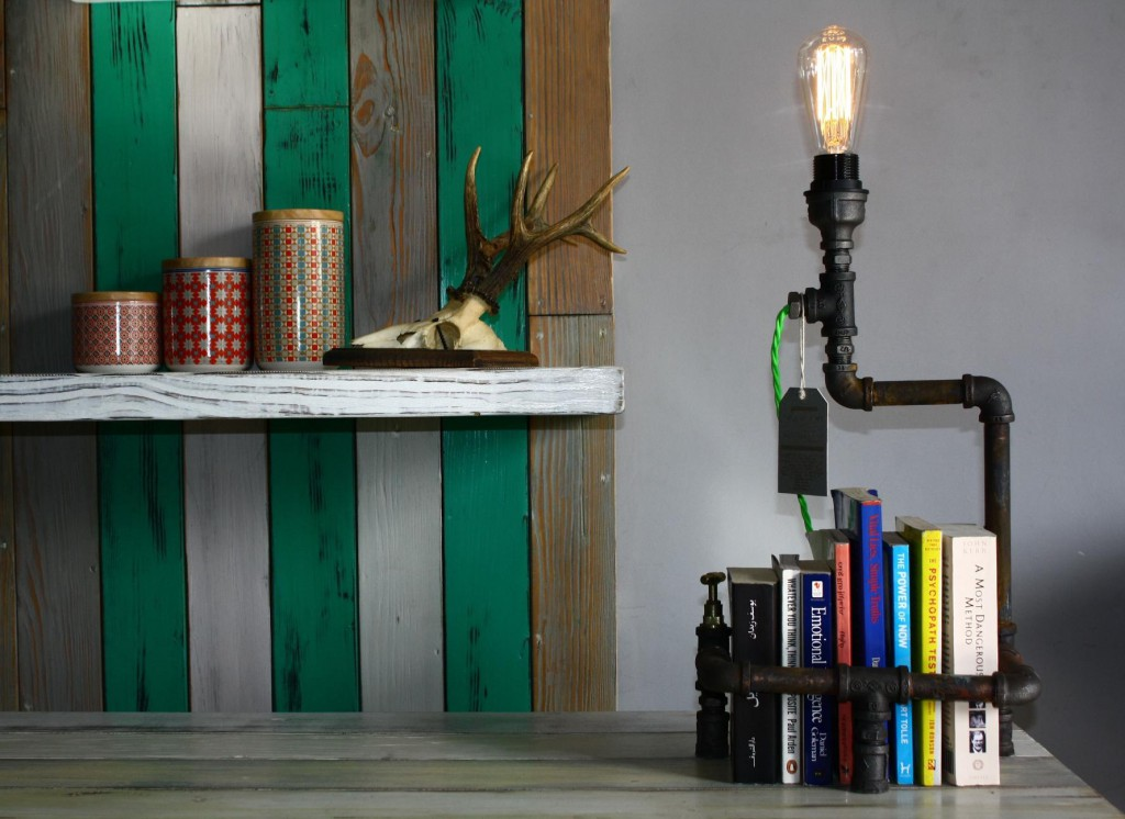 Dina Naguib's quirky lighting made from recycled pipes and meat grinders.