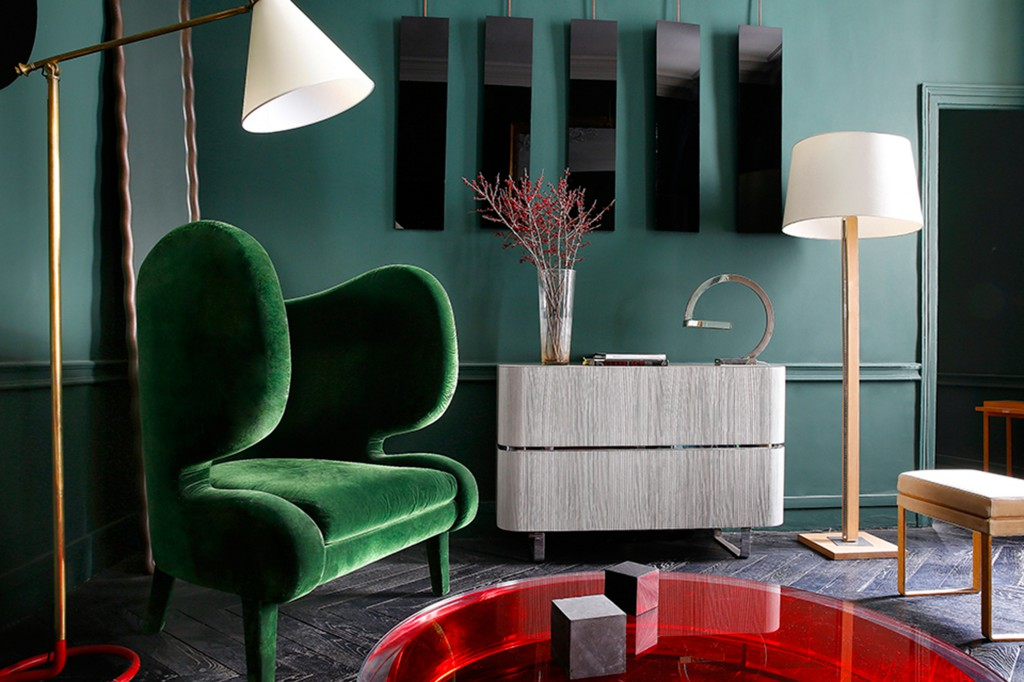 Commode, Elephant Armchair, Red Pastille Table and Rectangular Mirror by Jerome Faillant