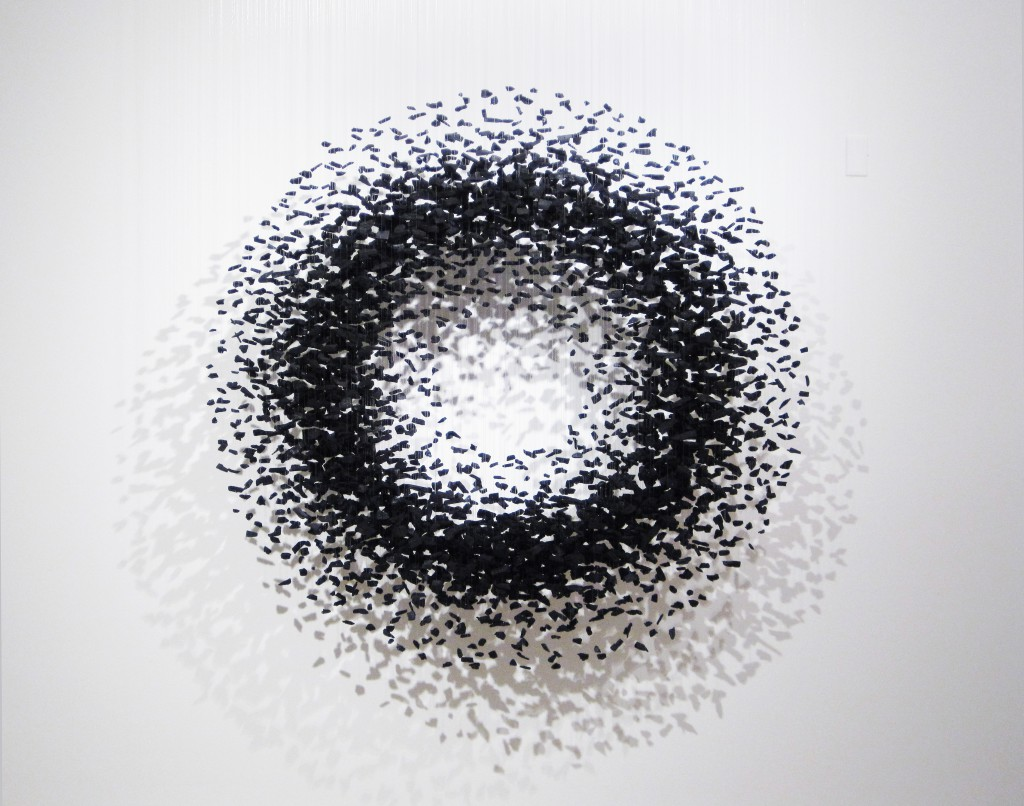 An Aggregation (2013), charcoal and nylon threads, by Bahk Seon Gi. Photo: Cmay Gallery.