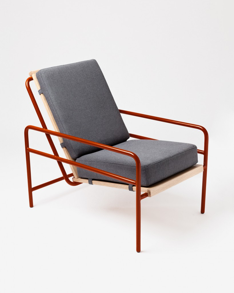 Armchair 01 from Gamme 01. Bent and welded tubular steel. Folded steel sheet. Oak veneered wood panel. Fabric Designers Guild.